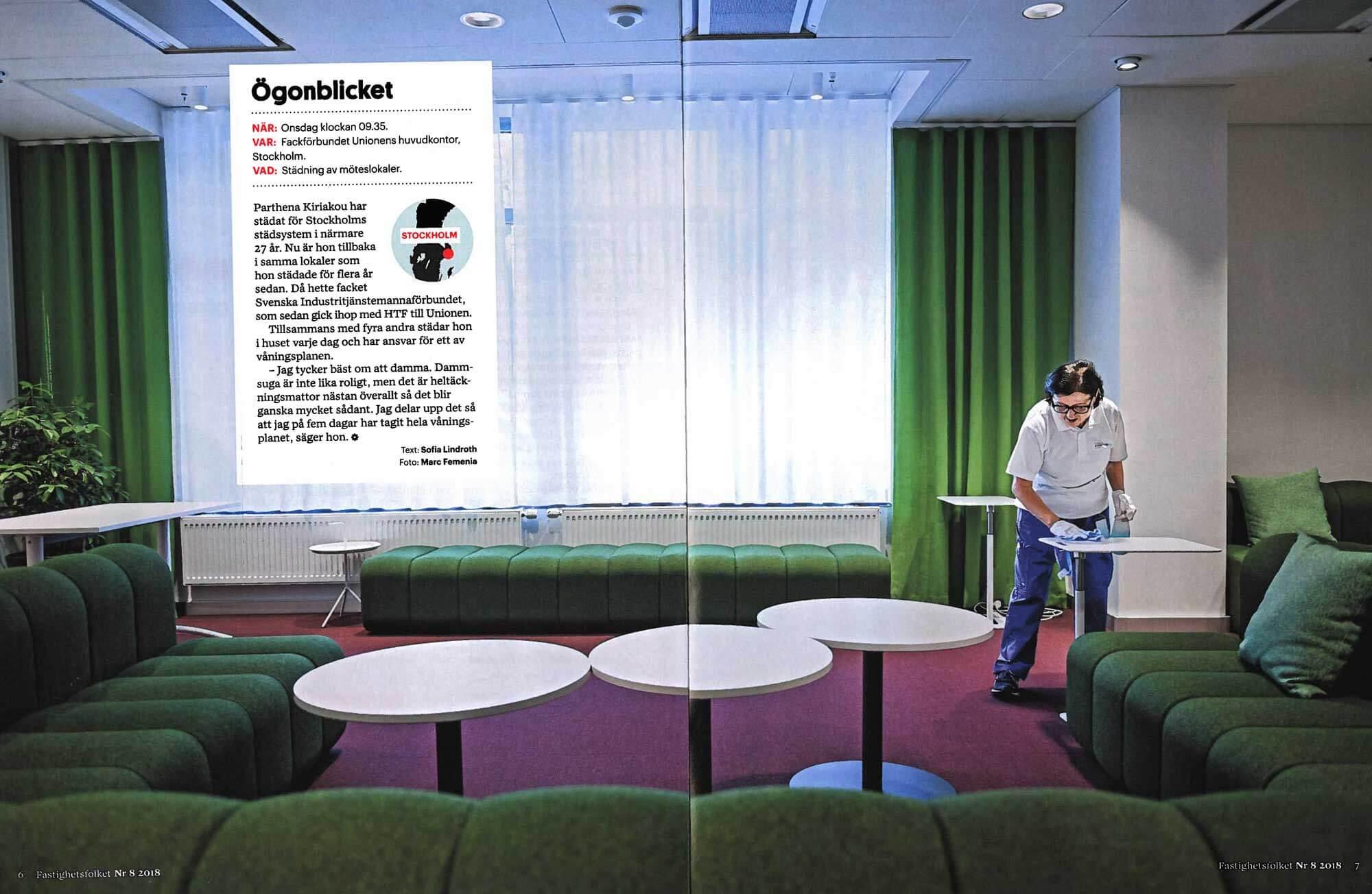 Tidningen Fastighetsfolket besöker Stockholms Städsystems kund Unionen