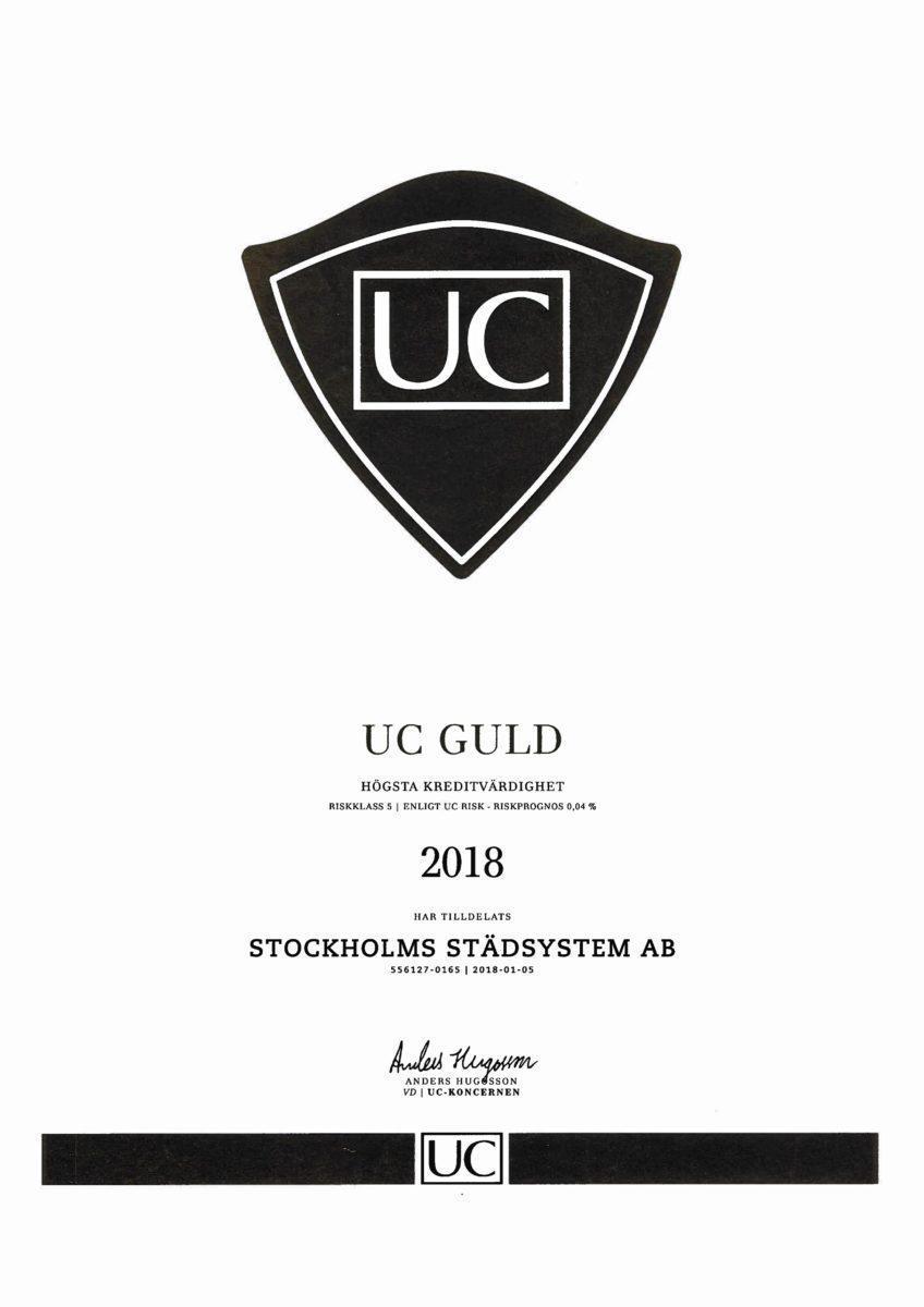 2018 UC Kreditvärdighet Stockholms Städsystem