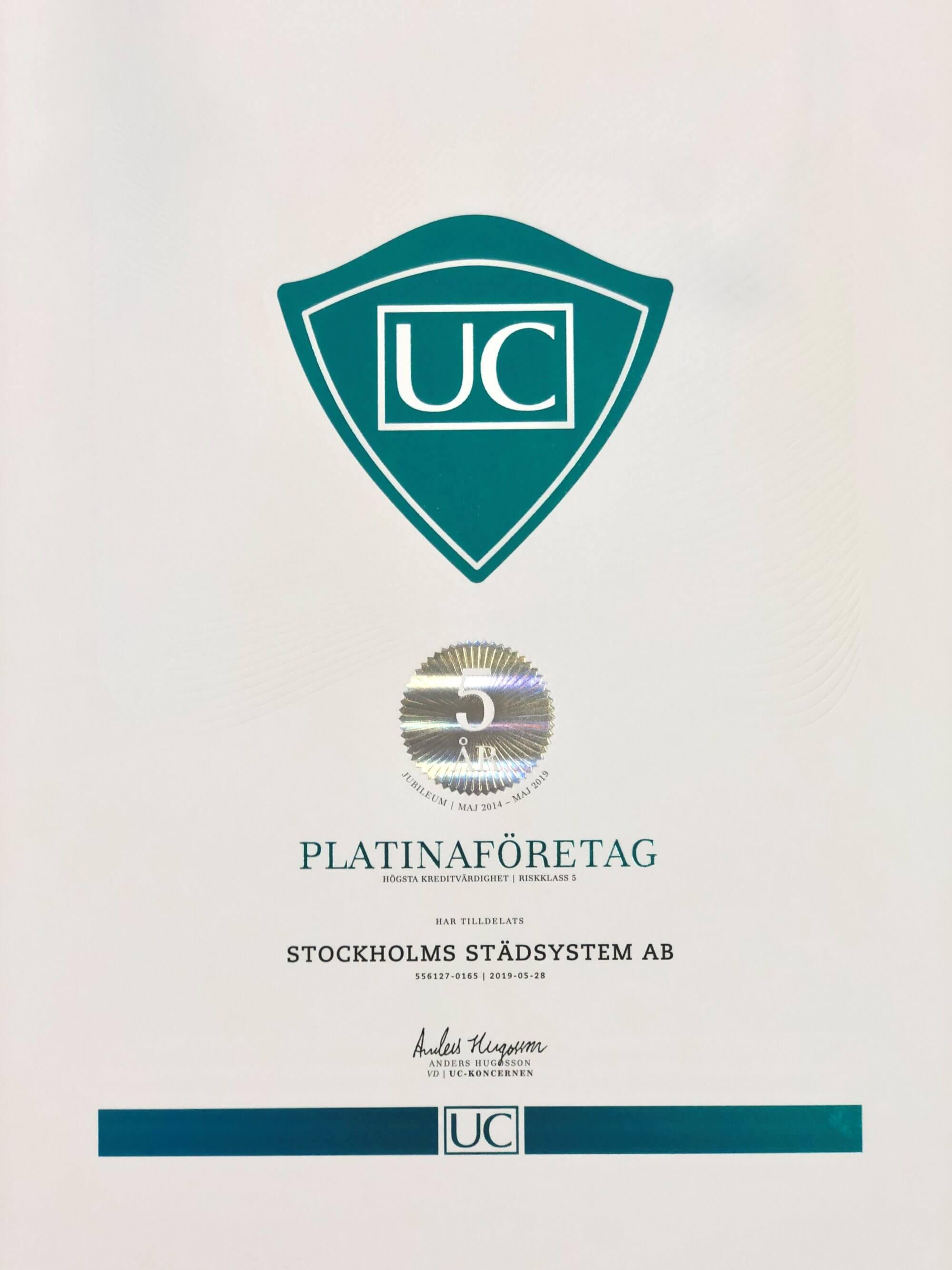 Stockholms Städsystem är nu ett UC PLATINA företag