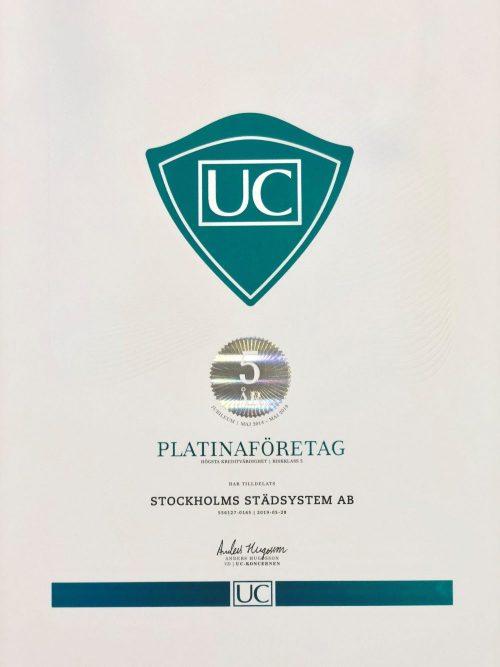 Stockholms Städsystem är nu ett UC Platinaföretag