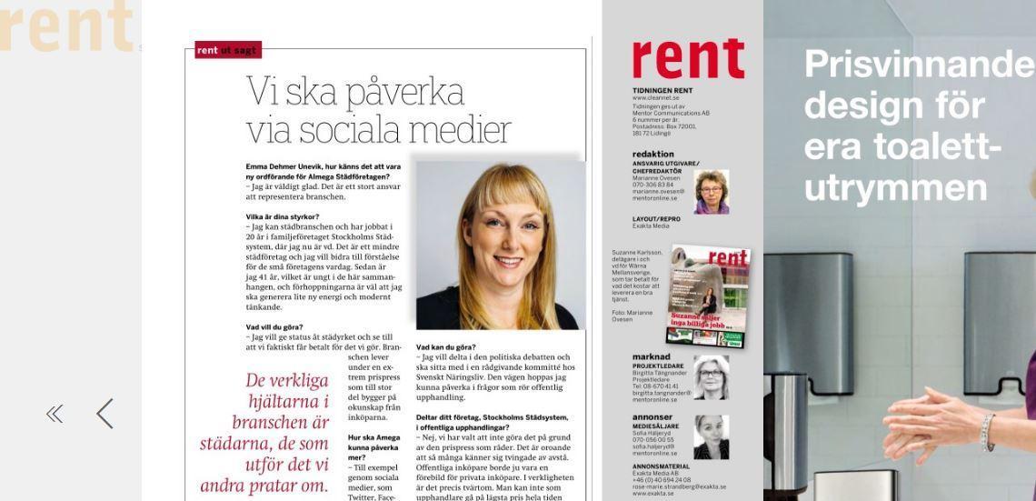 Intervju med Almega Städföretagens nya ordförande i Tidningen Rent